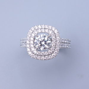 Bague double entourage diamant