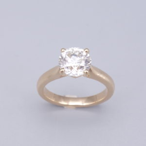 bague solitaire diamants et or