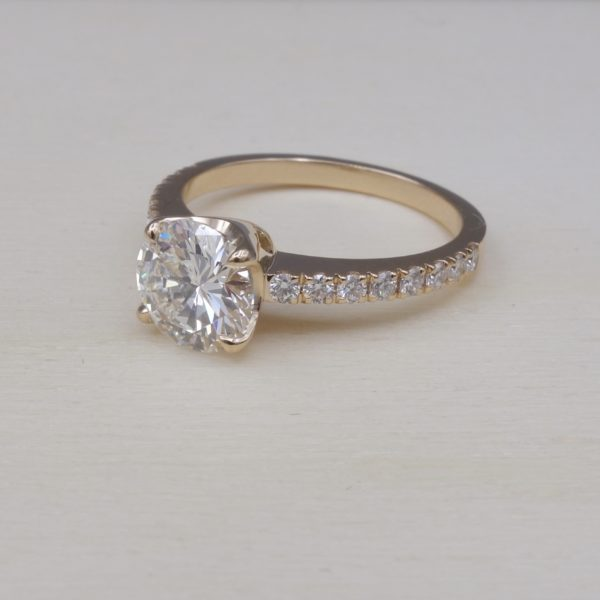 solitaire en or rose diamant